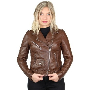Vêtements Femme Blousons Daytona Blouson Rose Garden style perfecto en cuir ref_46927 Bison Marron