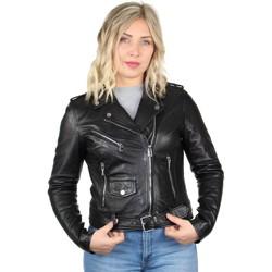 Vêtements Femme Vestes en cuir / synthétiques Daytona Blouson Rose Garden style perfecto en cuir ref_46927 Noir Noir