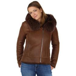 Vêtements Femme Parkas Giovanni Veste peaux lainée  ref_47395 marron Marron