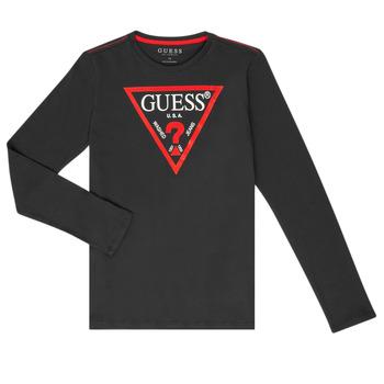 Vêtements Garçon T-shirts manches longues Guess HERVE Noir