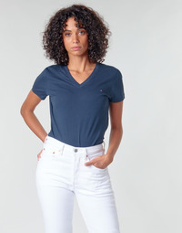 Vêtements Femme T-shirts manches courtes Tommy Hilfiger HERITAGE V-NECK TEE Marine