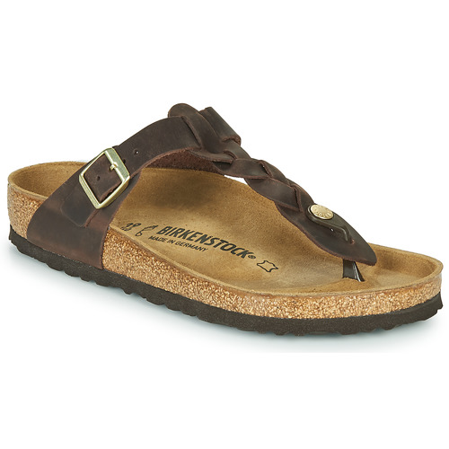 Chaussures Femme Tongs Birkenstock GIZEH  LEATHER Marron