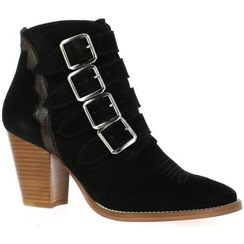 Chaussures Femme Boots Ambiance Boots cuir velours Noir