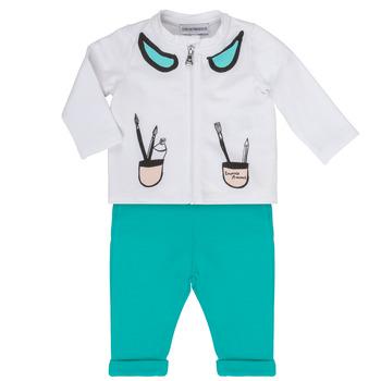 Vêtements Fille Ensembles enfant Emporio Armani Aubin Blanc / Bleu