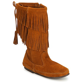 Chaussures Femme Bottes ville Minnetonka CALF HI 2 LAYER FRINGE BOOT Brown Suede