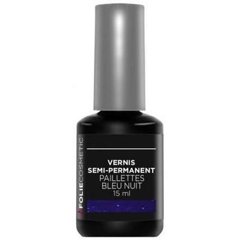 Beauté Femme Vernis à ongles Folie Cosmetic Vernis Semi permanent  Paillettes Bleu nuit   15 ml Bleu