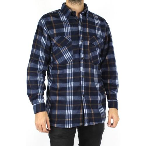 Vêtements Homme Chemises manches longues Kebello Chemise polaire à carreaux H Marine Marine