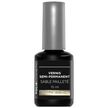 Beauté Femme Vernis à ongles Folie Cosmetic Vernis Semi permanent  Sable pailleté   15 ml Beige