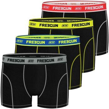 Sous-vêtements Homme Boxers Freegun Lot de 4 Boxers homme Aktiv Noir et Fluo Noir
