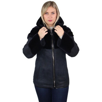 Vêtements Femme Manteaux Pallas Cuir Manteau  Genius cuir ref_46805 Marine Bleu