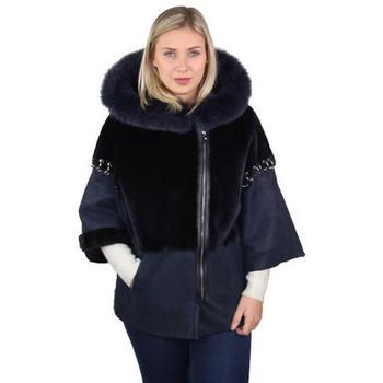 Vêtements Femme Manteaux Pallas Cuir Manteau  Genius cuir ref_46806 Marine Bleu