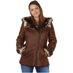 Vêtements Femme Manteaux Giovanni Veste peaux lainée  ref_47396 marron Marron