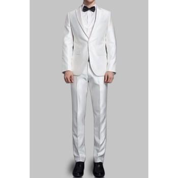 Vêtements Homme Costumes  Kebello Costume satin 2 boutons H Blanc Blanc