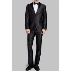 Vêtements Homme Costumes  Kebello Costume satin 2 boutons H Noir Noir