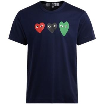 Vêtements Homme T-shirts manches courtes Comme Des Garcons T-Shirt  bleu en coton avec des Bleu