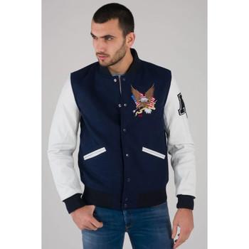 Vêtements Homme Blousons American College REF 71 NAVY/WHITE Blanc/navy