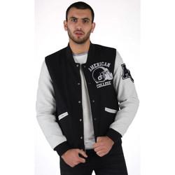 Vêtements Homme Blousons American College REF 73 BLACK/WHITE Noir/Blanc