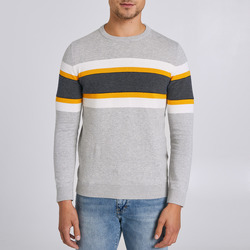Vêtements Homme Pulls Jules Pull col rond tricolore Gris Chine Clair