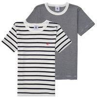 Vêtements Garçon T-shirts manches courtes Petit Bateau 53333 Blanc / Bleu