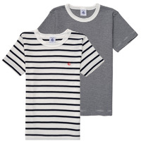 Vêtements Garçon T-shirts manches courtes Petit Bateau ADOPA Blanc / Bleu
