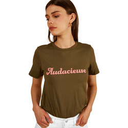 Vêtements Femme T-shirts manches courtes Frnch T-shirt ras-du-cou à inscription COLLY Vert