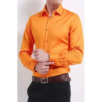 Vêtements Homme Chemises manches longues Kebello Chemise classique H Orange Orange
