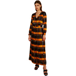 Vêtements Femme Robes longues Frnch Robe longue col V à carreaux ABERTE Orange