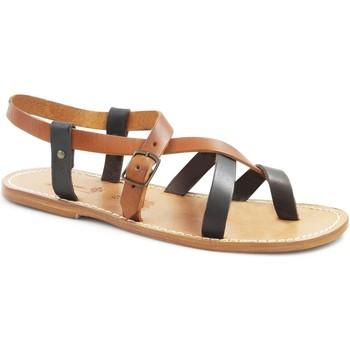 Chaussures Femme Sandales et Nu-pieds Gianluca - L'artigiano Del Cuoio 530 U MORO-CUOIO LGT-CUOIO Testa di Moro