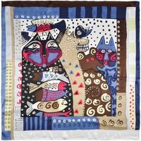 Accessoires textile Femme Echarpes / Etoles / Foulards Silkart Carré de soie Friendly pets Marron