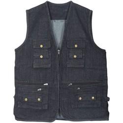 Vêtements Homme Gilets / Cardigans Kebello Gilet de pêche en jeans H Noir Noir