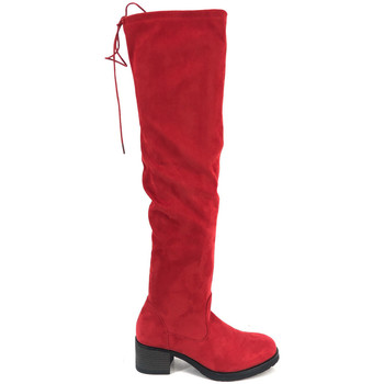 Chaussures Femme Cuissardes Cendriyon Bottes Rouge Chaussures Femme Rouge