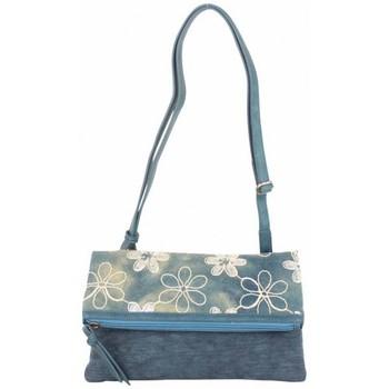 Sacs Femme Sacs Bandoulière Patrick Blanc Sac pochette plat  toile délavée fleur bleu bleu