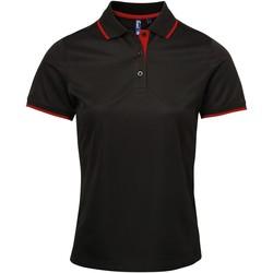 Vêtements Femme Polos manches courtes Premier Coolchecker Noir/Rouge
