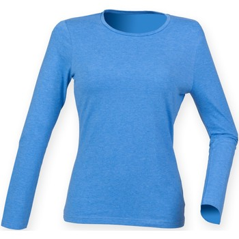 Vêtements Femme T-shirts manches longues Skinni Fit Stretch Bleu chiné