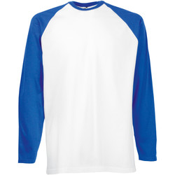 Vêtements Homme T-shirts manches longues Fruit Of The Loom 61028 Blanc/Bleu royal