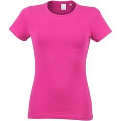 Vêtements Femme T-shirts manches courtes Skinni Fit Stretch Rose chiné
