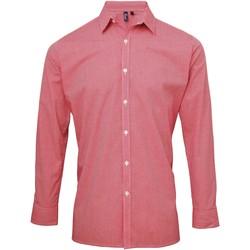 Vêtements Homme Chemises manches longues Premier Microcheck Rouge/Blanc