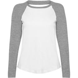 Vêtements Femme T-shirts manches longues Skinni Fit Baseball Blanc/Gris