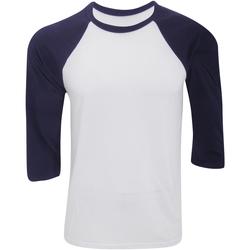 Vêtements Homme T-shirts manches longues Bella + Canvas Baseball Blanc / bleu marine