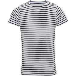 Vêtements Homme T-shirts manches courtes Asquith & Fox Mariniere Blanc / bleu marine
