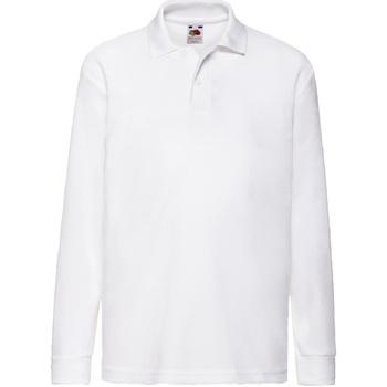 Vêtements Garçon Polos manches longues Fruit Of The Loom Pique Blanc