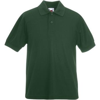 Vêtements Garçon Polos manches courtes Fruit Of The Loom Pique Vert bouteille