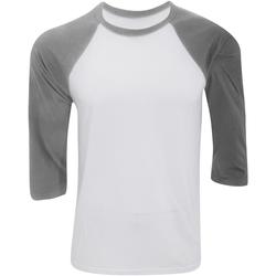 Vêtements Homme T-shirts manches longues Bella + Canvas Baseball Blanc / gris clair