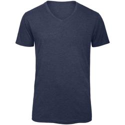 Vêtements Homme T-shirts manches courtes B And C TM057 Bleu marine chiné