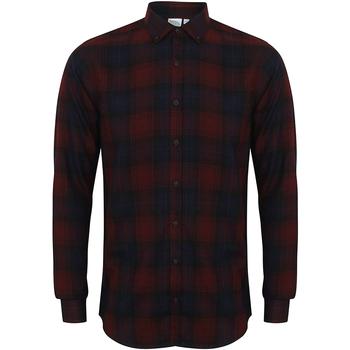 Vêtements Homme Chemises manches longues Skinni Fit Check Bordeaux