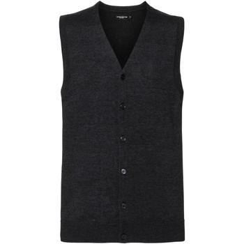Vêtements Homme Gilets / Cardigans Russell Collection gilet débardeur sans manche avec col en V RW6080 Gris foncé