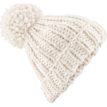 Accessoires textile Bonnets Beechfield Knitted Blanc cassé