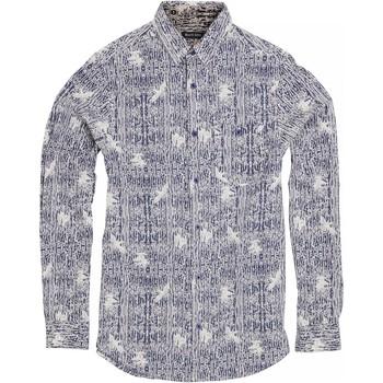 Vêtements Homme Chemises manches longues Brave Soul Idris Bleu/Blanc