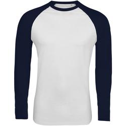 Vêtements Homme T-shirts manches longues Sols Contrast Blanc/bleu marine