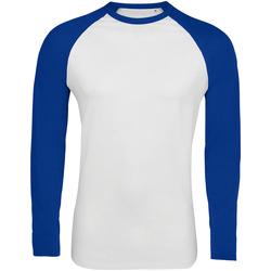 Vêtements Homme T-shirts manches longues Sols Contrast Blanc/bleu roi